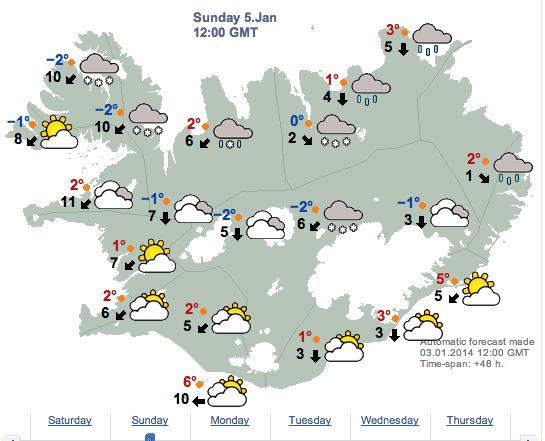Islandia-prognoza pogody na 5.01.